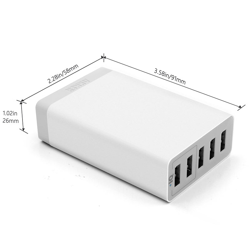Anker PowerPort5 Lite USB Universal Charger 25W 5 Port Charging Device 5V/5A Output Cargador USB for Phone Tablet/SG Plug