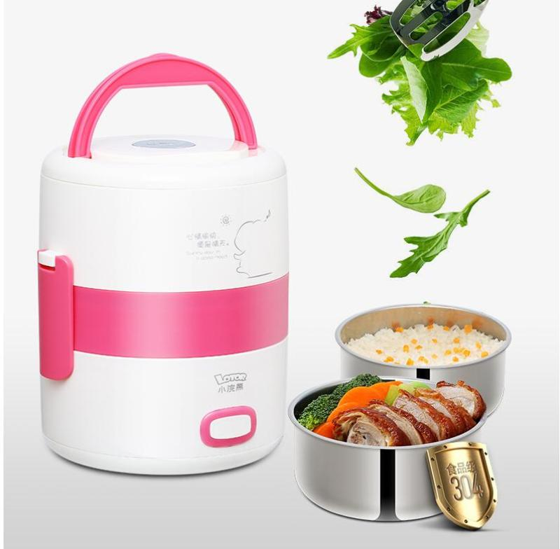 LOTOR HM-2018 1.6L Electric Lunch Box/ Mini Rice Cooker/ 2-Layer with 2 Bowls/ SG Plug/ English Manual/ 1 Year SG Warranty