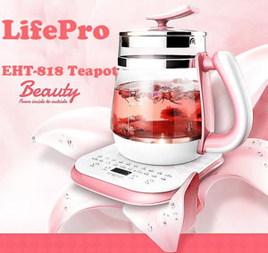 LifePro EHT-818 Multi-functional Electric Healthy Glass Teapot/Pink without Filter/ English Panel/SG Plug/1 Year Warranty