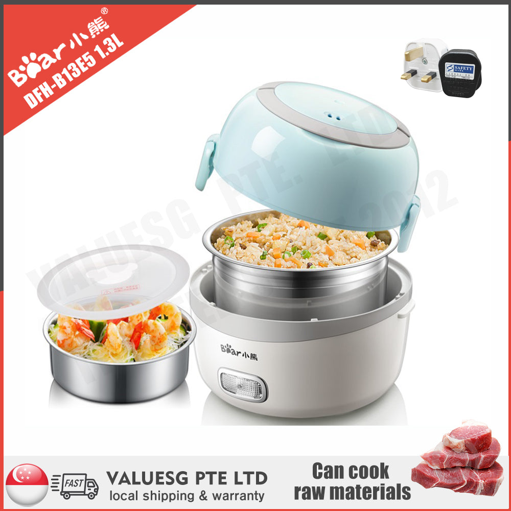 Bear DFH-B13E5 1.3L Electric Lunch Box/ Mini Rice Cooker/ 1-Layer with 2 Bowls/ SG Plug/ English Manual/ 1 Year SG Warranty