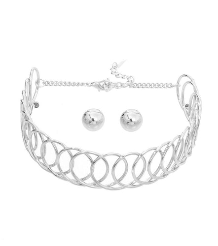Metal Choker Set -  Color:Silver