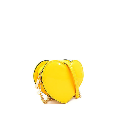 Yellow Vegan Patent Leather Heart Fanny Pack or Cross Body Bag