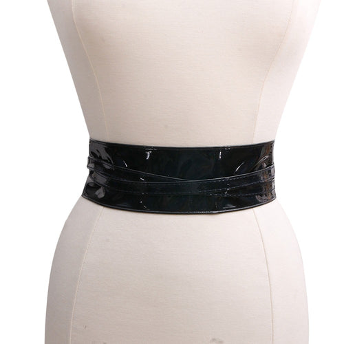 Black Patent Leather Wrap Around Belt