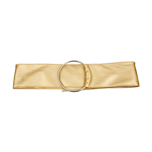 Gold Vegan Leather Wide Belt with Silver Ring