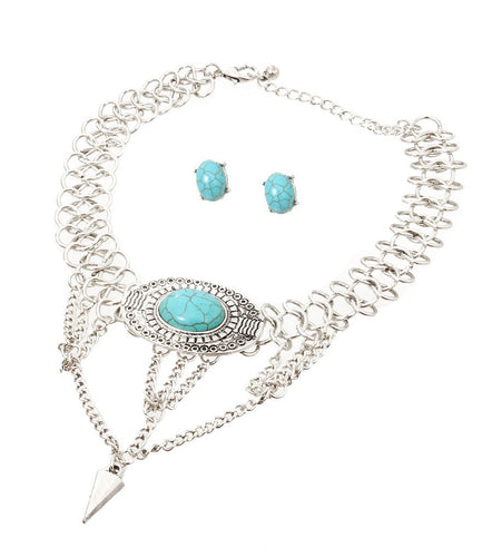 Antique Chain Choker - Turquoise