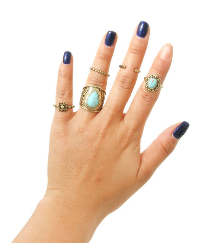 Gold Antique Ring Set - Turquoise