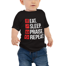 Load image into Gallery viewer, Eat Sleep Praise Repeat Baby Jersey Short Sleeve Tee