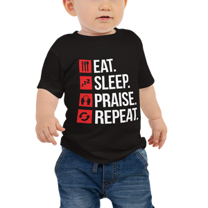 3. Eat Sleep Praise Repeat Baby Jersey Short Sleeve Tee