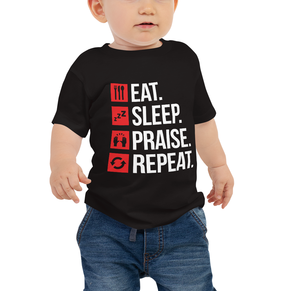 Eat Sleep Praise Repeat Baby Jersey Short Sleeve Tee