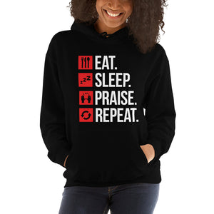 Eat Sleep Praise Repeat Hoodie for Women