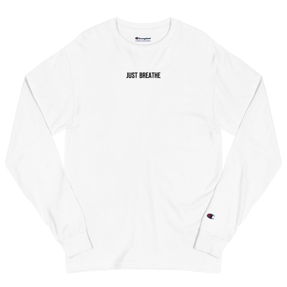 Just Breathe Champion Long Sleeve T-Shirt (White)
