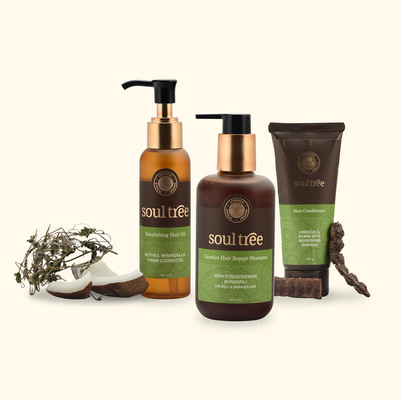 NOURISHING HAIR OIL, LICORICE HAIR REPAIR SHAMPOO & HIBISCUS HAIR CONDITIONER SET