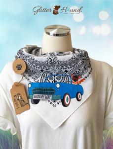"""Vintage Car Wagn My Way"" Fun Bandana for Pet Owners"