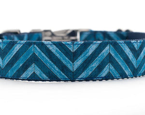 Blue Chevron Dog Collar for Boys