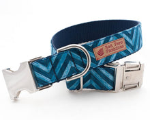 Load image into Gallery viewer, Blue Chevron Dog Collar for Boys
