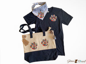 Car Seat Tote Bag, Dog Paw Graphics