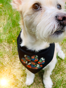 Personalized dog bandana with paw print graphics