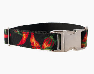 Hot Chili Pepper Dog Collar - Fun Black and Red Dog Collar for Boys or Girls