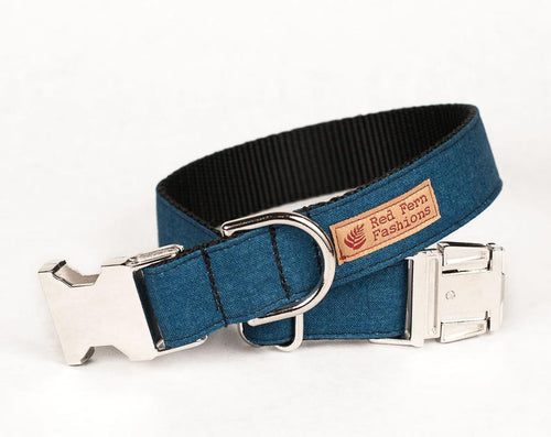 Custom Dog collars and leashes, denim blue