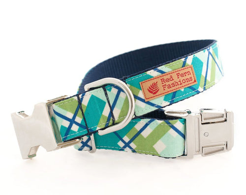 Diagonal Plaid Dog Dog Collar-Teal & Green Dog Collar