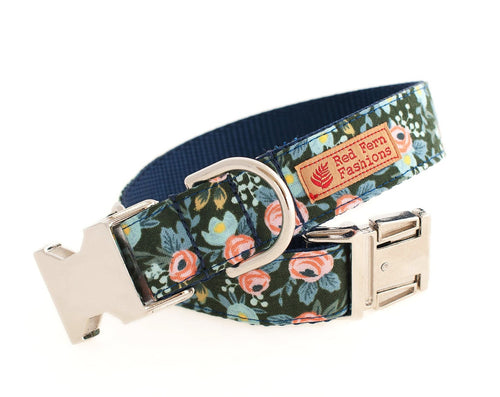 Floral Dog Dog Collar-Spring Flowers Dog Collar