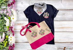 Flower Paws Bandana for dogs, tshirt and matching tote, Tote Bags for Women