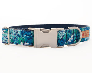 Custom Dog Collars and Leashes, Blue and Green Flower print
