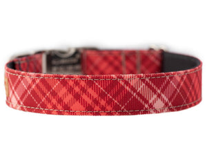Stain Resistant Plaid Dog Collar for Girls, Heavy Duty Red and Pink Canvas Collar