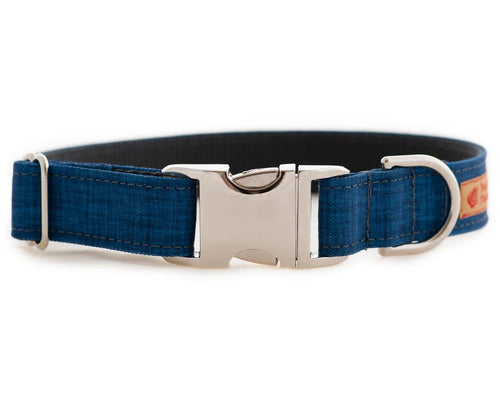 Heavy Duty Blue Linen Textured Dog Collar for Boys