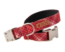 Load image into Gallery viewer, Stain Resistant Plaid Dog Collar for Girls, Heavy Duty Red and Pink Canvas Collar