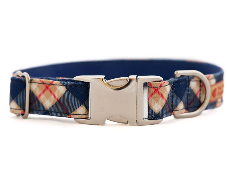 Stain Resistant Plaid Dog Collar for Boys Heavy Duty Navy and Tan Canvas Collar