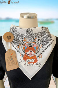 """Je Suis Frenchy"" Novelty  French Bulldog Bandana"