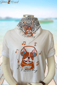 Cute Dog Bandana with French Bulldog Graphic, T-Shirt Clothing