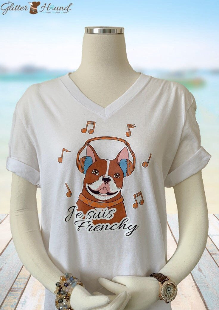 """Je Suis Frenchy"" Male French Bulldog T shirt"