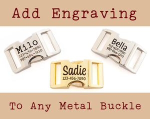 Personalized Dog Collar Buckle, Custom Engraved Metal Buckle Upgrade