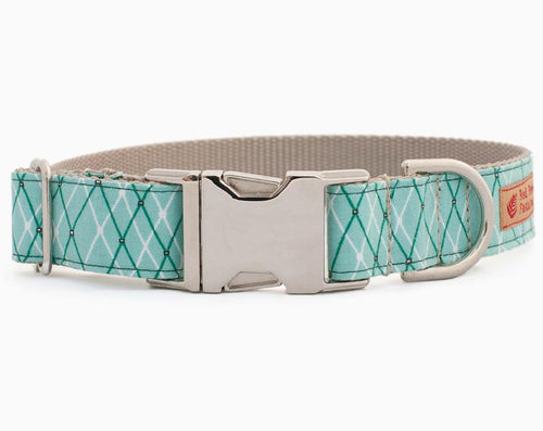 Mint Green Dog Collar for Girls-Argyle Plaid Nylon Dog Collar