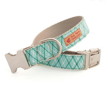 Load image into Gallery viewer, Mint Green Dog Collar for Girls-Argyle Plaid Nylon Dog Collar