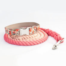 Load image into Gallery viewer, Custom Dog Collar, Peach Ombre Rope and Dog Collar and Leash Set for Girls - Ombre Rope Leash - Martingale or Buckle Collar - Hand Dyed Cotton Rope Dog Leash