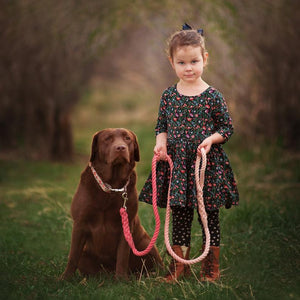 Chocolate Lab with little girl