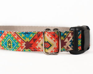 Custom Dog Collars and Leashes, An Aztec Tribal print fabric
