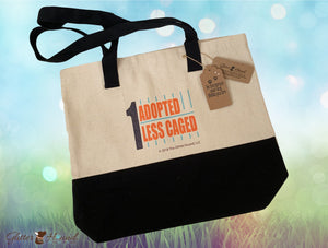 """One Adopted One Less Caged"" Two-Tone Canvas Bag"