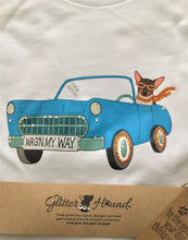 "Load image into Gallery viewer, ""Vintage Car Wagn My Way"" Fun Graphic T Shirt in White"