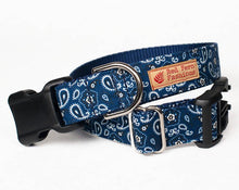 Load image into Gallery viewer, Western Dog Dollar in Navy Blue Paisley Print-Cowboy Dog Collar