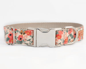 Custom Dog Collar, Peach flower with silver buckle