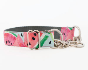 Custom Dog Collar, Pink Watermelon Dog Collar and Leash Set for Girls - Ombre Rope Leash - Martingale or Buckle Collar - Hand Dyed Cotton Rope Dog Leash