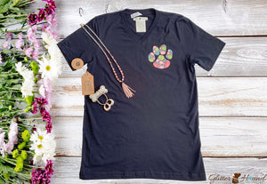 """Floral Paw Print"" T shirt with Dog Paws"