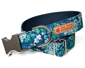 Custom Dog Collar, Blue and Green Flowers