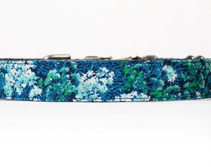 Custom Dog Collars and Leashes, Blue and green flowers for girls