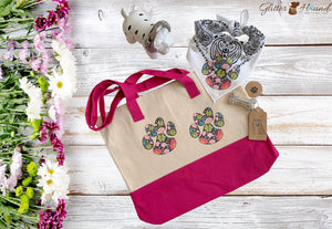 Flower Paws Canvas Tote Bag for dog lovers