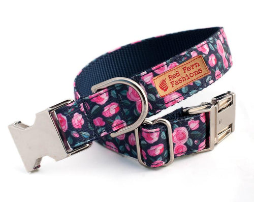 Heavy Duty Flower Dog Collar for Girls-Pink Roses